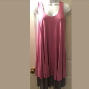 New COTTON GLAM Jersey Knit Dress Pink Gray